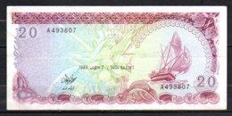 622-Maldives Billet De 20 Rufiyaa 1983 A493 - Maldives