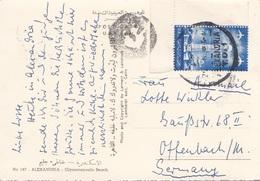 U.A.R.-EGYPT 196? - Sondermarke Auf Ak ALEXANDRIA Glymenopoulo Beach, Gel.v.Alexandria > Offenbach - Ägypten
