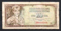 329-Yougouslavie Billet De 10 Dinara 1968 BM488 Ectritures Du Centre Bleue ? - Yougoslavie