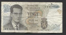 België Belgique Belgium 15 06 1964 -  20 Francs Atomium Baudouin. 3 Y  8170546 - [ 6] Schatzamt