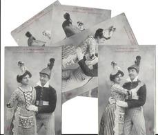 BERGERET Illustrateur LE CAS DU POMPIER Lot De 5 Cartes Cpa-scan R/V Des 5 Cartes (uniforme Casque Robe Coiffe*PRIX FIXE - Bergeret