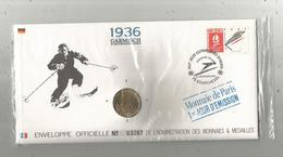 """Enveloppe Officielle """"timbre Médaille"""" Premier Jour,J.O. D'hiver ,1936 , GARMISCH Partenkichen,4 Scans,frais Fr : 1.95 E - Professionnels / De Société"""