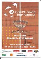 TENNIS - COUPE DAVIS BNP PARIBAS - STADE ROLLAND GARROS - PARIS 2002 - CACHET TEMPORAIRE - Tennis