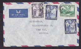 British Guiana: Airmail Cover To Austria, 1954, 4 Stamps, George VI, Waterfall, Fishing, Sugar Cane Ship (traces Of Use) - Brits-Guiana (...-1966)
