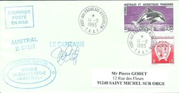 """TAAF - Port Aux Français-Kerguelen: Lettre """"Austral"""" Avec Timbres N°172  Armoiries Et N°177 Orque - 14/09/1995 - Cartas"""
