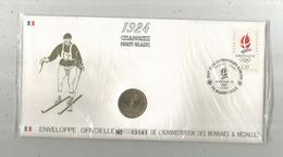 """Enveloppe Officielle """"timbre Médaille"""" Premier Jour,J.O. D'hiver ,1924 , CHAMONIX Mont Blanc,4 Scans,frais Fr : 1.95 E - Professionnels / De Société"""