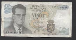 België Belgique Belgium 15 06 1964 -  20 Francs Atomium Baudouin. 3 Z 0244938 - [ 6] Schatzamt