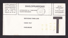 France: Postage Free Reply Cover, 1973, T-letter, Yellow Postcode Sorting Code (minor Damage) - Frankrijk