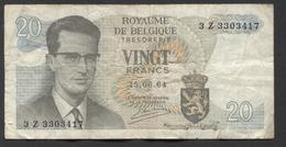 België Belgique Belgium 15 06 1964 -  20 Francs Atomium Baudouin. 3 Z 3303417 - [ 6] Treasury