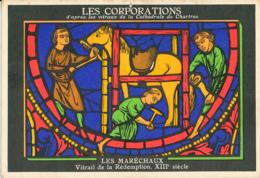 Métiers, Chartres, Cathédrale, Vitrail De La Rédemption : Corporations, Les Maréchaux, Pub Aspirine, Dentifrice - Chartres