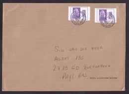 France: Cover To Netherlands, 2019, 2 Computer Printed Label-stamps, Marianne (both Labels Damaged!) - France