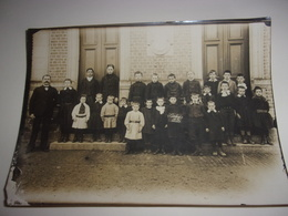 N/BELLE GRANDE PHOTO 80 SOMME CONTAY ECOLE ECOLIERS INSTITUTEUR 1913 - France