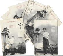 BERGERET Illustrateur LA JOURNEE DE PITOU Lot De 6 Cartes Cpa-scan R/V Des 6 Cartes (soldat Uniforme Militaria*PRIX FIXE - Bergeret