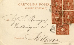 STORIA POSTALE-REGNO D'ITALIA-UMBERTO I-CARTOLINA  AL VERSO CORONA FERREA MONZA-Vg1899-Valori5 Da 2c-VAL.CAT.SAS.-25€-. - Posta