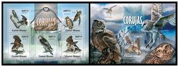 Guinea Bissau 2013 Fauna Birds Owls Klb + S/s MNH - Gufi E Civette