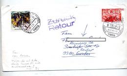 Lettre Cachet Efringen Sur Weber Facteur + Retour  + Demenagé - Marcophilie - EMA (Empreintes Machines)