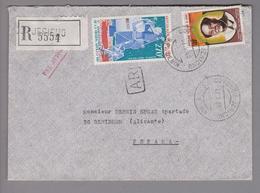 "Afrika Benin 1980-08-27 Jericho R-Brief Rücksch. ""AR"" Nach Benidorm Spanien - Bénin – Dahomey (1960-...)"