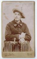Ancienne Photo CDV 24 ème 24e 24eme Régiment De Chasseur Alpin Baïonnette Photo Peyloz à Nice. - Guerre, Militaire