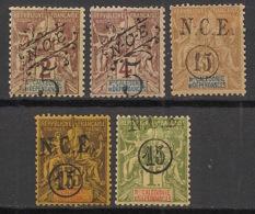 Nouvelle Calédonie - 1900-01 - N°Yv. 54 à 58 - Type Groupe Surchargés - Série Complète - Neuf * / MH VF - Nouvelle-Calédonie