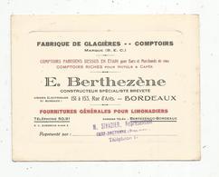 Carte De Visite, Fabrique Comptoirs De Bar - Cafés- Hotels,  BERTHEZENE , Bordeaux ,représentant Sivadier ,Chef Boutonne - Tarjetas De Visita
