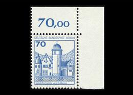 Berlin 1977, Michel-Nr. 538 A, Freimarken: Burgen Und Schlösser, 70 Pf., Eckrand Oben Rechts, Postfrisch - Ungebraucht