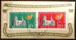"""Schweiz Suisse 1955: """"LAUSANNE"""" Zu WIII 35 Mi Block 15 Yv BF 15 Mit O BERNE 15.II.55 Jour D'émission (Zu CHF 110.00 ++) - Blocks & Kleinbögen"""