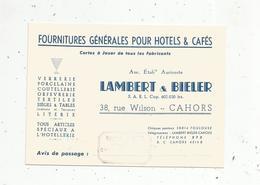 Carte De Visite, Fournitures Pour Cafés- Hotels, LAMBERT & BIELER ,Cahors ,représentant Sivadier ,Chef Boutonne - Tarjetas De Visita