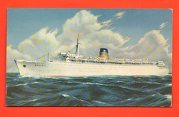 Piroscafo Arkadia Greek Line Cpa Anni '50 Navir Schip - Guerra