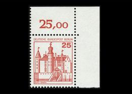 Berlin 1977, Michel-Nr. 587, Freimarken: Burgen Und Schlösser, 25 Pf., Eckrand Oben Rechts, Postfrisch - [5] Berlijn