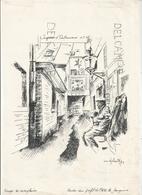 Lithographie Signée M. Debaty, 1984. Impasse D'Outremeuse N°18 - Vieux Papiers