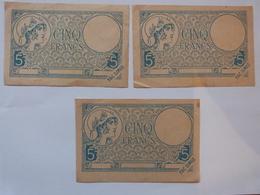 3 Billets Cinq Francs En Fac Similé. - Fiktive & Specimen