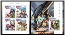 Guinea Bissau 2014 Fauna Dinosaurs Klb + S/s MNH - Postzegels