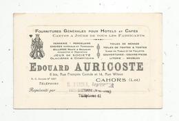 Carte De Visite, Fournitures Pour Cafés- Hotels, E. Auricoste, Cahors ,représentant Sivadier ,Chef Boutonne - Tarjetas De Visita