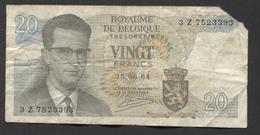 België Belgique Belgium 15 06 1964 -  20 Francs Atomium Baudouin. 3 Z  7523393 - [ 6] Schatzamt