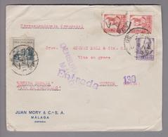 Spanien 1937-12-13 Malaga Zensurbrief Mit Zuschlagsmarke Pro Malaga - 1931-Aujourd'hui: II. République - ....Juan Carlos I