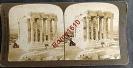 Photo Stéréoscopique. Grece.  Athene.  Temple Athena. - Stereoscopic