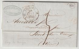LAC Saône Et Loire , T12 Vignory, OR = Forges De Bologne 1843 - Postmark Collection (Covers)