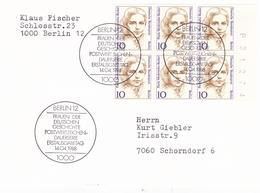 Berlin 1988 Paula Modersohn Becker Postcard Erstausgabetag Block Of 6 - [5] Berlin