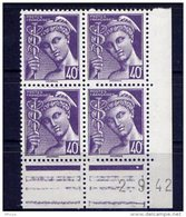 Cd4726 YvT N 548 Mercure 40c Violet Coin Daté Du 02/09/42 N** - 1940-1949