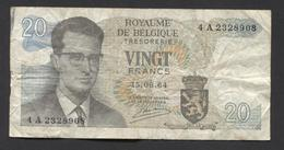 België Belgique Belgium 15 06 1964 -  20 Francs Atomium Baudouin. 4 A 2328908 - [ 6] Treasury