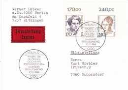 Berlin 1988 Hannah Arendt +Mathilde Franziska Anneke Postcard Erstausgabetag Express Mail - [5] Berlin
