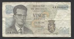 België Belgique Belgium 15 06 1964 -  20 Francs Atomium Baudouin. 4 A 3922067 - [ 6] Schatzamt