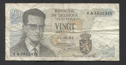 België Belgique Belgium 15 06 1964 -  20 Francs Atomium Baudouin. 4 A 5822415 - [ 6] Schatzamt