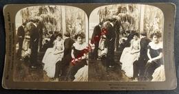 Photo Stéréoscopique.  Le Bal. Jeunes Filles En Robe De Soirée. Couples. - Photos Stéréoscopiques