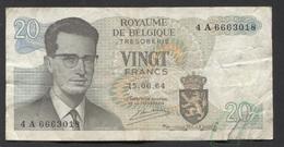 België Belgique Belgium 15 06 1964 -  20 Francs Atomium Baudouin. 4 A  6663018 - [ 6] Treasury