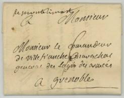 """""""de Montélimart"""" Manuscrit /  LàC 1768 De Jean-Louis-Roger De Rochechouart Gouverneur D'Avignon Pour Grenoble . - Marcofilie (Brieven)"""