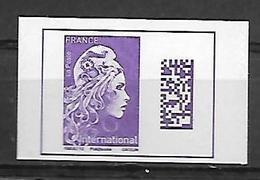 France 2019 -  Yv N) A1656 ** Marianne L'engagée D'Y (du Carnet) - International - (autoadhésif Du Carnet) - Unused Stamps
