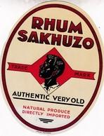 RHUM SAKHUZO , TRADE MARK, AUTHENTIC, Very Old. - Rhum