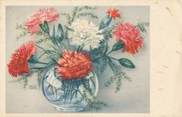 Illustration Fleurs - Oeillets En Vase - Fleurs