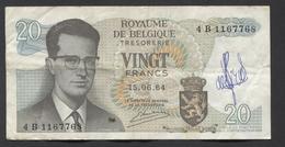 België Belgique Belgium 15 06 1964 -  20 Francs Atomium Baudouin. 4 B 1167768 - 20 Francs